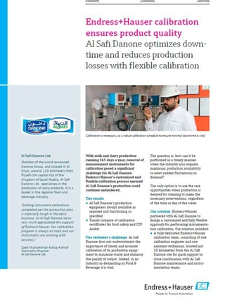 case study with Danone about calibration optimization in food industry